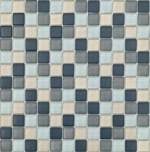 BARWOLF Mozaika szklana 2,3x2,3cm silver grey mix